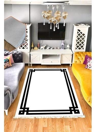 Belemir Belemir B279 Vogue Beyaz Siyah Yıkanabilir Dekoratif Halı Renkli